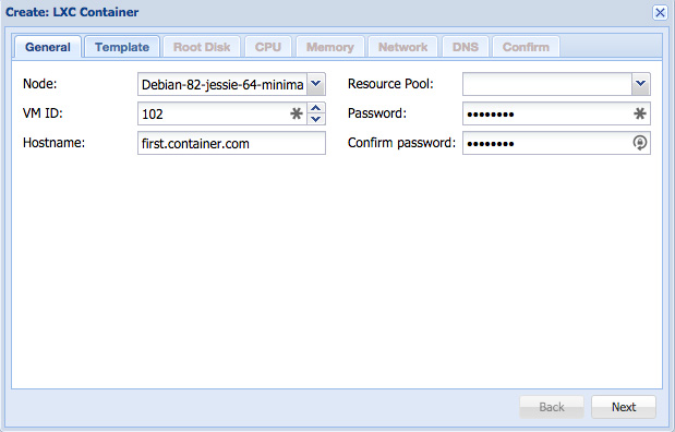 Proxmox 4 Tutorial Container First Step