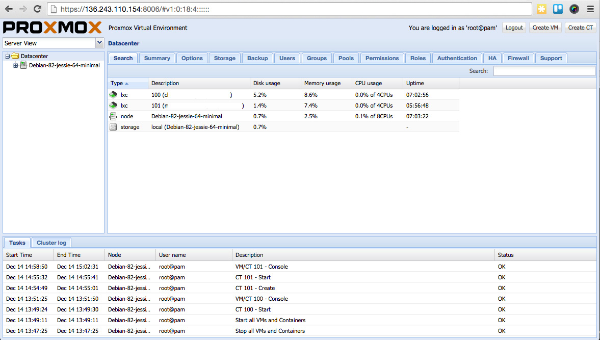 Proxmox 4 Tutorial screenshot